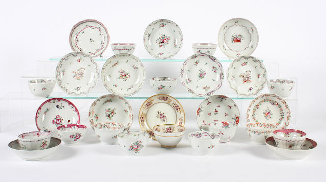 Fourteen Newhall teabowls and saucers Circa 1780-1800.