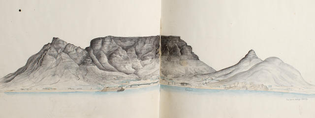 English School, circa 1831 An album comprising views of the UK and Cape Town, including a study of a fish off Robben Island