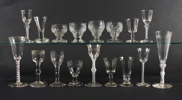 A group of assorted glasses 18th Century and later.