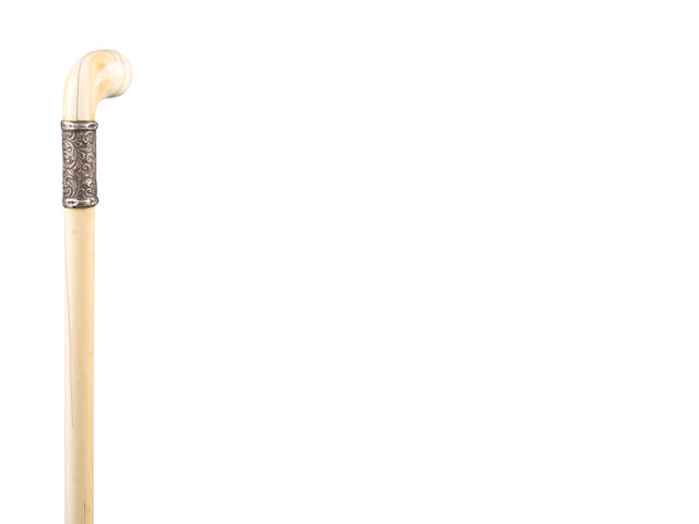 A 19th century Indian ivory and silver mounted walking cane,