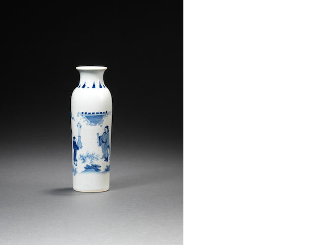 A small blue and white sleeve vase Circa 1640