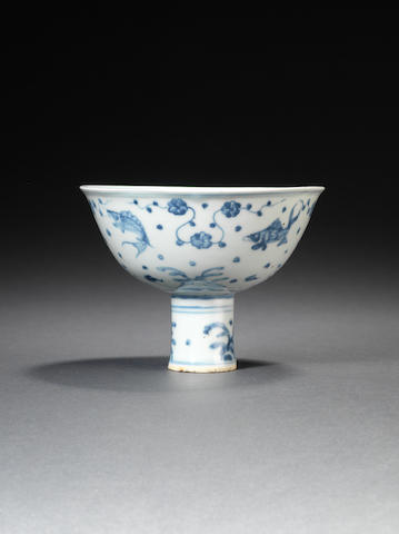 A blue and white stem cup Circa 1500
