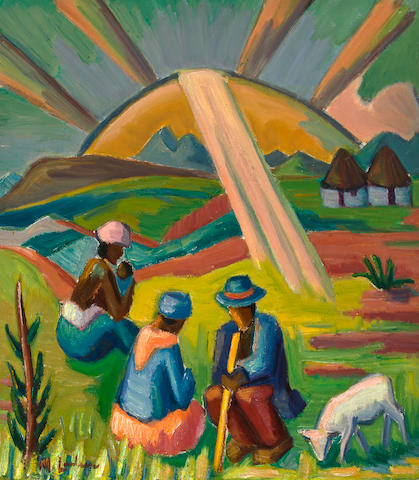 Maggie (Maria Magdalena) Laubser (South African, 1886-1973) Country folk seated at sunrise