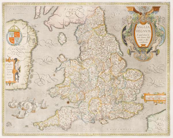 ENGLAND and WALES SAXTON (CHRISTOPHER) and ABRHAM ORTELIUS. Anglia regnum si quod aliud in toto Oceano ditissimum et florentissimum
