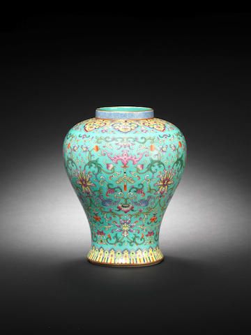 A turquoise-ground famille rose vase Jiaqing seal mark and of the period