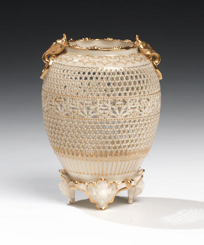 A fine Royal Worcester reticulated vase by George Owen, dated 1912