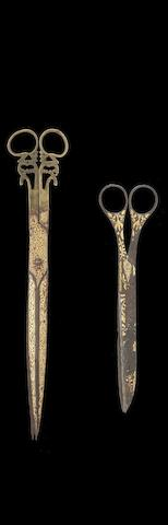 Two pairs of Ottoman steel Calligrapher's Scissors Turkey, 19th Century(2)