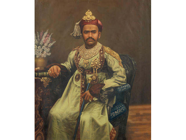 BARODA A hand-coloured and overpainted portrait of the Maharaja of Baroda