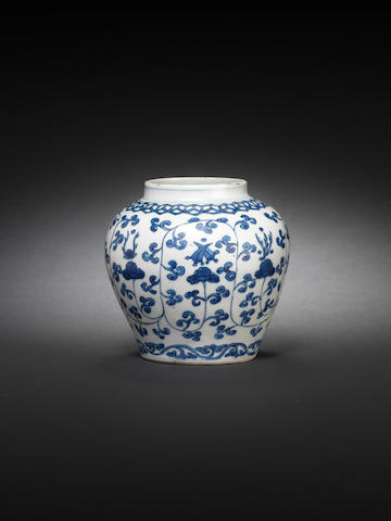 A small blue and white baluster jar Wanli six-character mark and of the period