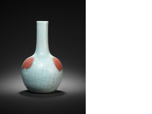 A crackle glazed and underglaze red bottle vase, tianqiuping Qianlong seal mark and of the period