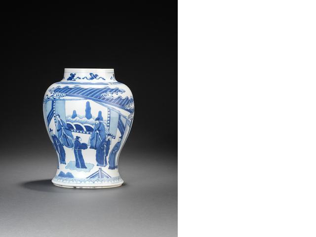 A blue and white baluster vase Kangxi