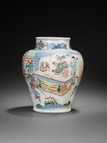 A wucai baluster vase  Shunzhi