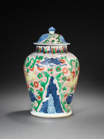 A wucai baluster jar and cover Shunzhi
