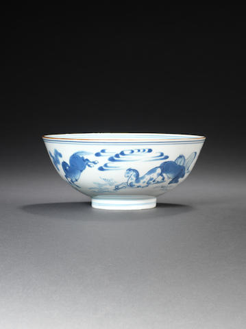 A blue and white bowl  Chongzhen/Shunzhi