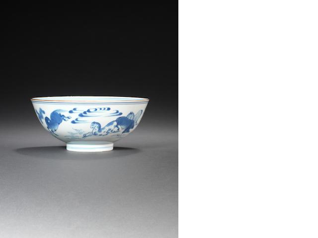 A blue and white bowl  Chongzhen/Shunzhi