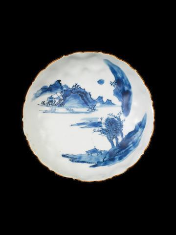 A blue and white foliate rim dish  Tianqi