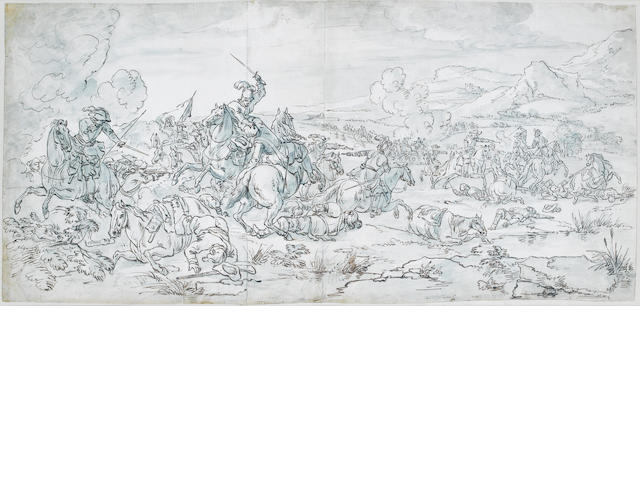 Attributed to Adam Frans van der Meulen (Brussels 1632-1690 Paris) A battle scene 395 x 860 mm