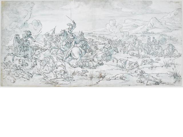Attributed to Adam Frans van der Meulen (Brussels 1632-1690 Paris) A battle scene 395 x 860 mm