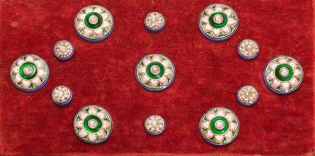 A complete group of diamond-set enamelled gold Shewani Buttons Benares, early 20th Century(13)