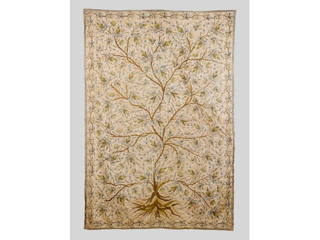 An Ottoman embroidered silk Panel Turkey, 18th Century