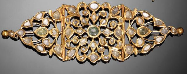 A pair of Indian diamond-set gold Bazubands (2)