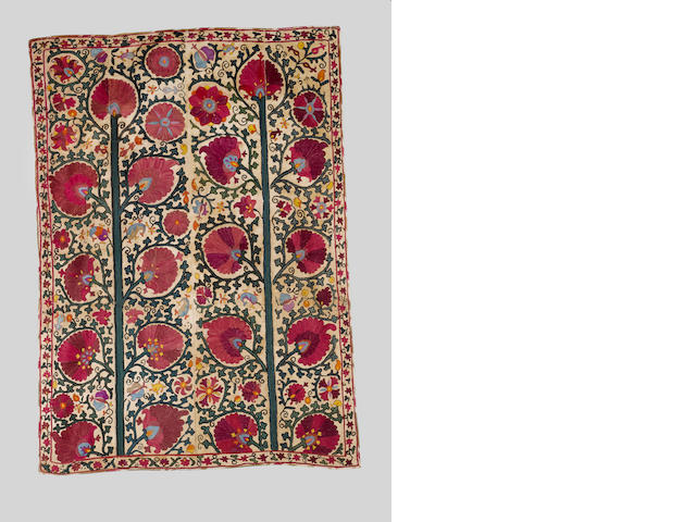 A Bokhara embroidered linen Panel (susani) Uzbekistan, 19th Century
