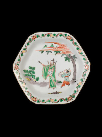 A famille verte octagonal dish Tianqi