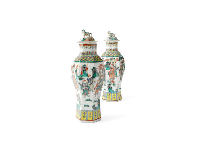 A pair of famille verte vases with lids Kangxi marks but later