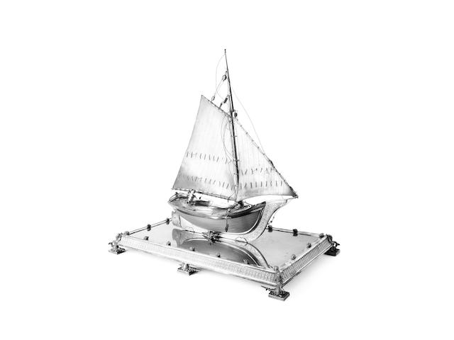 An impressive American electroplated model of a barque, circa 1880,