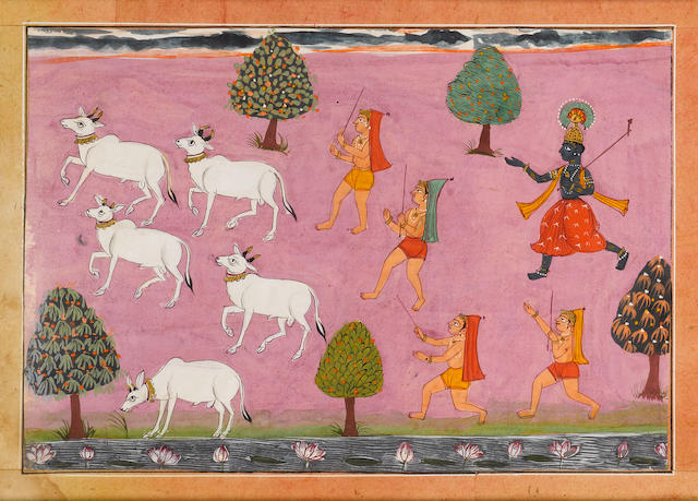 An illustration from a Bhagavata Purana series: Krishna and cowherds chasing cows across a meadow, a stream with lotus blossoms in the foreground Popular Mughal, Bikaner, circa 1610