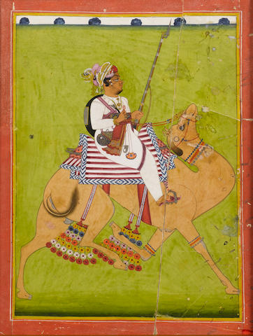 A prince armed with a rifle riding a camel in a landscape Jodhpur, circa 1840