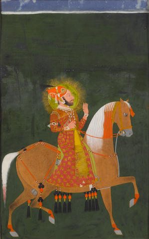 Maharana Ari Singh (reg. 1761-1773) out riding Mewar, circa 1765