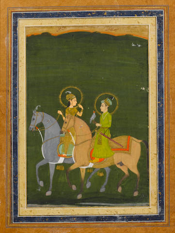 A scene from The Thousand and One Nights: Prince Sayf al-Muluk and Princess Badi' al-Jamal out hawking on horseback Provincial Mughal, 19th Century