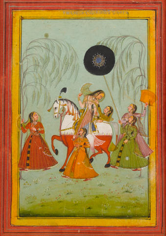 A princess on horseback with retainers Bundi, circa 1760