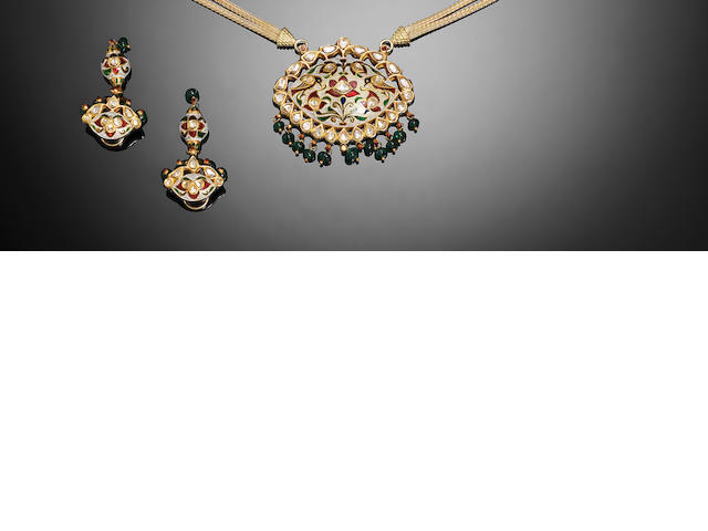 An Indian gem-set enamelled gold Pendant and Earrings (3)