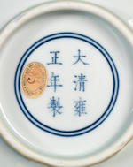 A fine and large Ming-style copper-red 'three fish' bowl  Yongzheng six-character mark and of the period