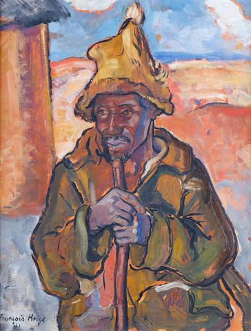 Francois Krige (South African, 1913-1994) African man with stick