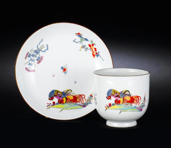 A rare Meissen beaker and a saucer circa 1740