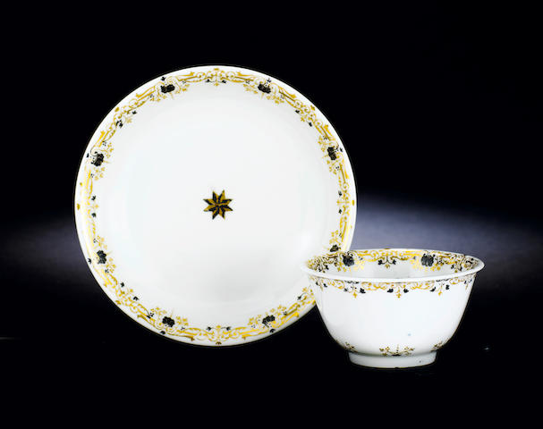 A very rare Meissen teabowl and saucer circa 1715-20