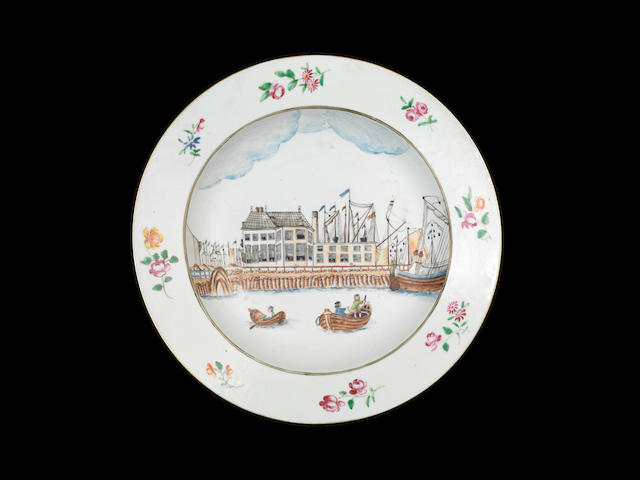 A Chinese export plate with the Harbour of Amsterdam