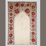 A Bokhara embroidered linen Prayer Panel (susani) Uzbekistan, 19th Century