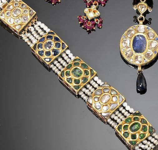 A pearl-mounted gem-set gold Choker India, 20th Century