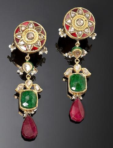A pair of Indian ruby, emerald and diamond-set gold Earrings (2)
