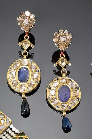 A pair of Indian sapphire and diamond-set enamelled gold Earrings (2)