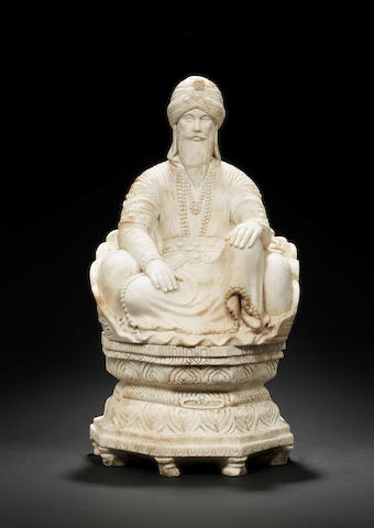 A marble statue of the Sikh ruler Maharajah Ranjit Singh (1780-1839) enthroned Northern India, circa 1900
