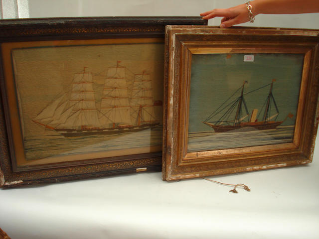Two Victorian woolwork ship pictures