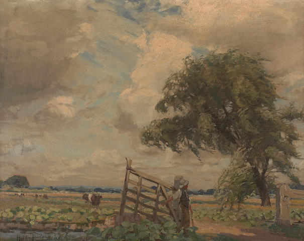 Hilda Fearon (British, 1878-1917) At the farm gate