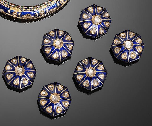 Six Indian diamond-set and enamelled gold Buttons (6)