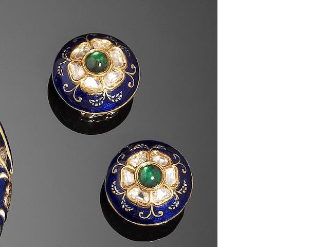A pair of Indian gem-set enamelled gold Earrings (2)