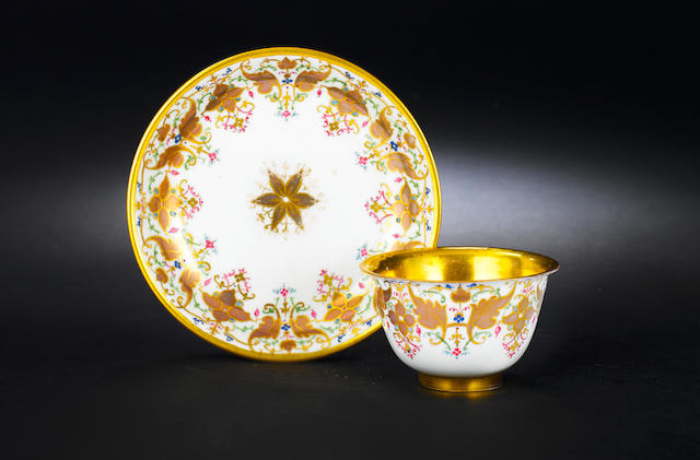 A very rare Meissen teabowl and saucer circa 1720